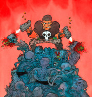 punisher vs zombies (encres de couleur)