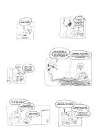 01-Storyboard écrit et dessiné sur un carnet (ou sur des feuilles volantes ou un post-it) que j'ai scanné et monté sur mon ordinateur. J'ai tapé le texte, pour connaître la taille exacte de mes bulles, ce qui me fera gagner du temps pour les prochaines étapes.
