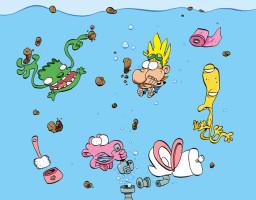 illustration pour le fond d'écran de David Garcia (Gak), le super réalisateur de la super série animée JEAN-LUC ET FAIPASSA