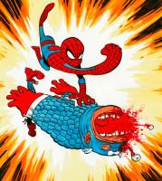 spider-man vs cap-america (encres de couleur)